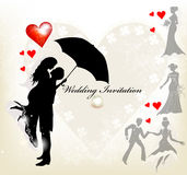 Design of wedding invitation with silhouette Royalty Free Stock Images