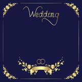 Design of a wedding template of a floral frame, manual lettering, ribbon, and two rings stock illustration