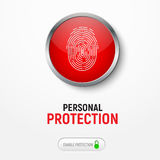 Design of a white banner with a red button with a fingerprint fo. R protecting information. Vector illustration Royalty Free Stock Photography