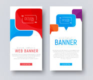 Design of white web banners with colored bubbles talking. vector illustration