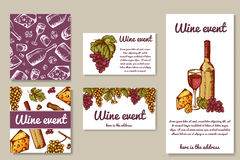 Design for wine cards. Invetation on winr event. Can be used for menu, banner. Vector illustration Stock Photography