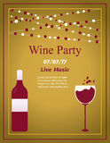 Design for wine event. Suitable for poster, promotional leaflet, invitation, banner. Design for wine party. Suitable for poster, promotional leaflet, invitation Stock Image