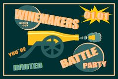 Design for wine event. Winemakers battle party. Design for wine event. Suitable for poster, promotional leaflet, invitation, banner or magazine cover. Winemakers Stock Images