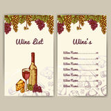 Design for wine list. Restaurant template for invitation, menu, banner or etc. Wine concept design. Vector illustration Royalty Free Stock Photos