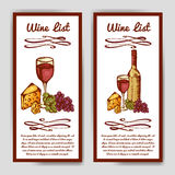 Design for wine list. Restaurant template for invitation, menu, banner or etc. Wine concept design. Vector illustration Stock Photo