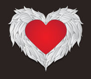 Design Winged Heart on Valentine`s Day.vector and illustration Royalty Free Stock Photo