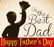 Design with Winner Dad Silhouette to Celebrate Father`s Day, Vector Illustration. Poster with victorious dad silhouette holding a trophy for Father`s Day royalty free illustration