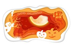 Design withpumpkin on cemetery. Happy halloween paper art style  Royalty Free Stock Image