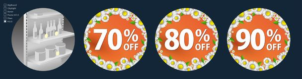 The design of the wobblers for the promotion is a spring sale of bright daisies on a orange background. Discount of 70. The design of the poster for the Stock Illustration