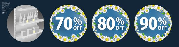 The design of the wobblers for the promotion is a spring sale of bright daisies on a sky blue background. Discount of 70. The design of the poster for the Vector Illustration