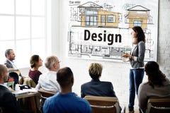 Design-Wohnungsbau-Plan-Innenraum-Konzept stockfoto