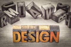 Design word abstract in wood type. Design - word abstract in vintage  letterpress wood type printing blocks, color combined with black and white image Royalty Free Stock Photos