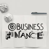 Design word  BUSINESS FINANCE on white crumpled paper Stock Photo
