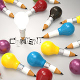 Design word CONTENT and pencil lightbulb 3d Stock Photos