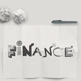 Design word FINANCE on white crumpled paper and texture backgrou Stock Photography
