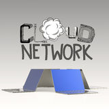 Design word hand drawn CLOUD NETWORK and 3d laptop Royalty Free Stock Image