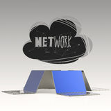 Design word hand drawn CLOUD NETWORK and 3d laptop Stock Photography