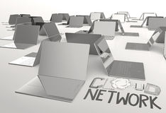 Design word hand drawn CLOUD NETWORK and 3d laptop computer Stock Photo