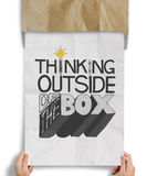 Design word THINKING OUTSIDE OF THE BOX Royalty Free Stock Photos