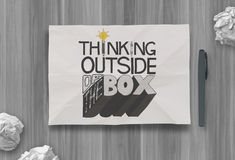 Design word THINKING OUTSIDE OF THE BOX Royalty Free Stock Images