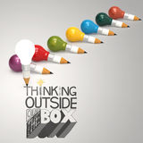 Design word THINKING OUTSIDE OF THE BOX. Pencil lightbulb 3d and design word THINKING OUTSIDE OF THE BOX as concept Royalty Free Stock Photography