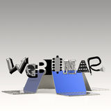 Design word WEBINAR and laptop 3d computer Royalty Free Stock Image