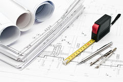 Design and working blueprints Stock Photos
