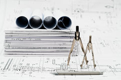 Design and working blueprints Stock Photo