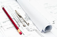 Design and working blueprints Royalty Free Stock Image