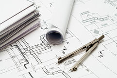Design and working blueprints Royalty Free Stock Photos