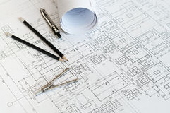 Design and working drawings Stock Photos
