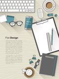 Design workplace in thin line style Royalty Free Stock Photos