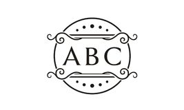 Initial / Monogram with circle floral frame royalty free illustration
