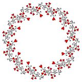 Decorative Wreath with Leaves and Hearts Stock Photography