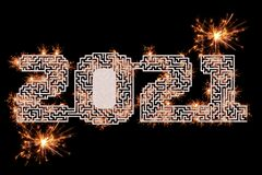 Design of the Year 2021 with Typography in Maze Format with Sparkles