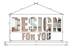Design for you slogan in modern house blueprint. Design for you, slogan in modern house blueprint royalty free stock photography