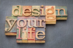 Design your life in wood type. Design your life - self development concept - word abstract in letterpress wood type printing blocks against slate stone Stock Photo