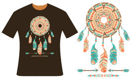 Design for your t-shirt. Dreamcatcher Stock Photo