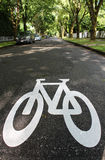 Designated Bicycle Symbol. A sign painted on a residential street indicates its a bicycle zone Stock Image