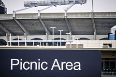 Designated cookout picnic area next to nfl football stadium. Designated cookout picnic area  next to nfl football stadium Royalty Free Stock Photos