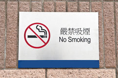 Designated no smoking area sign. Brick floors Stock Images