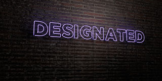 DESIGNATED -Realistic Neon Sign on Brick Wall background - 3D rendered royalty free stock image. Can be used for online banner ads and direct mailers Royalty Free Stock Photography
