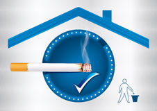 Designated smoking area - printable sticker. Blue Smoking allowed sticker for print, containing a realistic cigarette under a roof sign and a sign with a basket Royalty Free Stock Photography