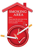 Designated smoking area - printable sticker. Containing a realistic lighting cigarettes on a red ashtray. Print colors used Royalty Free Stock Photos
