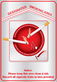 Designated smoking area - printable sticker. Containing a realistic lighting cigarettes on a red ashtray. Print colors used Royalty Free Stock Images