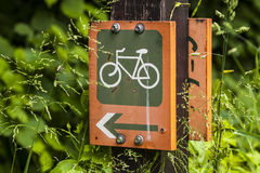 Designation of the road for bicycles. Stock Photos