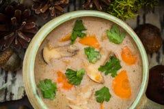 Designazione d'annata selvaggia della zuppa di fungo della foresta dei regali del pasto Immagini Stock Libere da Diritti