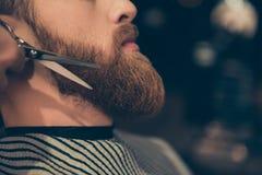 Designazione della barba e taglio, concetto del negozio di barbiere Chiuda su PR potato fotografie stock
