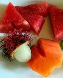 Designazione esotica dell'alimento del compositon della frutta fotografie stock
