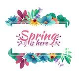 Designbanret med våren är här logoen Kort för vårsäsong med den vita ramen och örten Befordranerbjudande med sprin stock illustrationer
